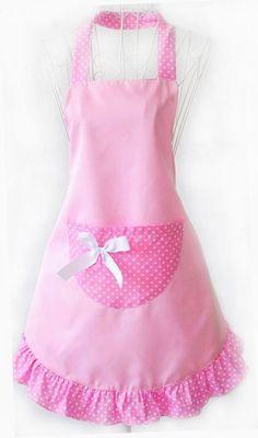 Musuntas Fashion Dots Muster Sleeveless Halter-Neck Style Baumwolle Tuch Schürze Küche Schürze pink