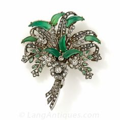 Antique Chrysoprase and Diamond Brooch - Vintage Jewelry