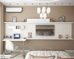 Письменный стол в спальне, телевизор в спальне