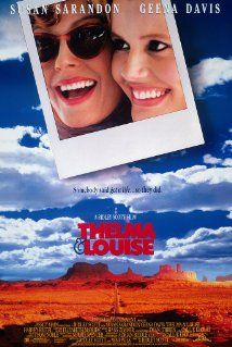 Thelma & Louise - 1991 film co-produced and directed by Ridley Scott and written by Callie Khouri.Stars Geena Davis as Thelma and Susan Sarandon as Louise, and co-stars Harvey Keitel. Michael Madsen and Brad Pitt play supporting roles. The film became an Thelma Louise, Thelma And Louise Movie, 90s Movies, Movies To Watch, Good Movies, Awesome Movies, Movies 2019, Geena Davis, Susan Sarandon