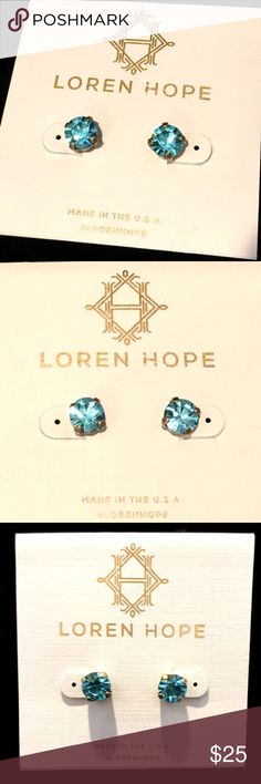 NEW Beautiful Loren Hope kaylee studs in aqua NEW Beautiful Loren Hope kaylee studs in aqua! Bright and super sparkly! Brass hardware, surgical steel posts. Loren Hope Jewelry Earrings