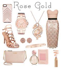 """Rose Gold X"" by x0cindy0x on Polyvore featuring mode, Rebecca Minkoff, Harry Winston, Madden Girl, Bulgari, LE VIAN, Michael Kors, Carolee, Topshop en Calvin Klein"