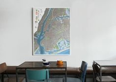 This forest / orange / pewter map of NYC by The Future Mapping Co is a great addition to design-minded studio spaces, and comes in a choice of frame (and colour). It's seen here hanging in a cafe/bar in East London
