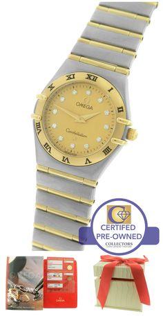 Ladies Omega Constellation '95 Diamond 25.5mm Two Tone Full Bar 1272.15.00 Watch