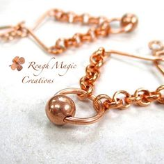 Abstract Boho Earrings. Rustic Copper Ball and Chain Dangles. Handmade Jewelry by RoughMagicCreations