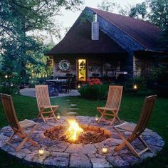 a full flagstone patio area just for the fire pit or too much space taken from the yard itself?