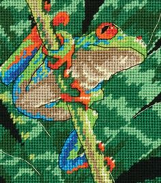 """Dimensions Red-Eyed Leaf Frog Mini Needlepoint Kit-5""""X5"""" Stitched In Thread at Joann.com"""