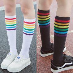 Black/White Kawaii Rainbow Preppy Style Socks Black and White Kawaii Rainbow Preppy Socks Style Preppy, Preppy Mode, Rainbow Outfit, Rainbow Fashion, Rainbow Socks, Rainbow Clothes, Pride Outfit, Mode Kawaii, Kawaii Style