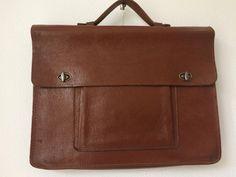 Stylish vintage brown leather briefcase, businessbag or officebag by MORETHANVINTAGENL on Etsy