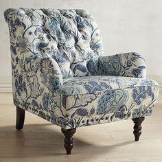 Chas Indigo Blue Floral Armchair