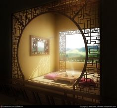 moon gate trellis + Chinese art deco = love