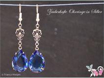 XXL Vintage Ohrhänger Silber Tropfen blau lang