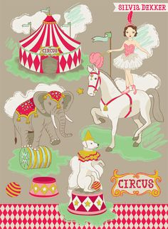 Vintage Circus illustration by Silvia Dekker Circustent, horses, elephants