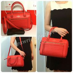 """SALE New Kate Spade perforated red leather Satchel 100% authentic Delaney Satchel in Empire red leather with 14-karat light gold plated hardware. Front zip pocket, inside zip and slip pockets. Zip top closure and fabric lining. Handles drop 5"""". Longer detachable and adjustable strap. Measures 10.5"""" (L) x 8"""" (H) x 5.5"""" (W). Brand new with tags. Comes from a pet and smoke free home. Kate Spade dustbag included. kate spade Bags Satchels"""