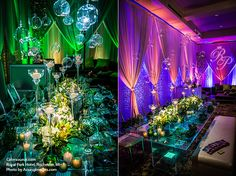 Lighting transformations of the same tabletop at the Royal Park Hotel in Rochester, MI
