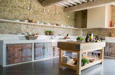 Stone and wood kitchen interior BioMalta RAL 7010 Grigio Tenda : by Marcello Gavioli Rustic Kitchen Decor, Kitchen Interior, New Kitchen, Rustic Kitchens, Kitchen Ideas, Beautiful Kitchens, Cool Kitchens, Küchen Design, House Design