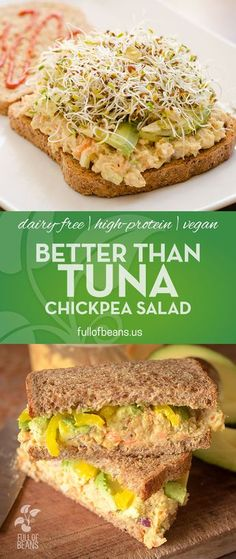 "This chickpea vegan ""tuna"" salad is an easy, satisfying and delicious vegan alternative to the usual non-vegan sandwich fillers. Enjoyed by vegans and non-vegans, it is also much more affordable than (Vegan Easy Meals) Veggie Recipes, Whole Food Recipes, Vegetarian Recipes, Cooking Recipes, Healthy Recipes, Salad Recipes, Recipes Dinner, Vegan Vegetarian, Vegan Sandwich Recipes"