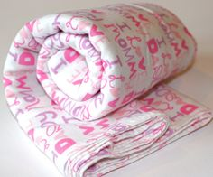 I love Mommy and Daddy Pink and Purple Receiving Blankets Great Gift for a Baby Girl