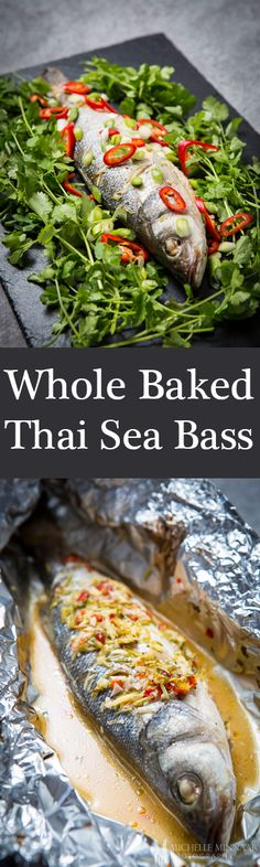 Whole Baked Thai Sea Bass - {NEW RECIPE} A Thai flair on the most renowned delectable sea bass bursting with rich punchy individual flavours that combine into a magnum opus of seafood delicacy.