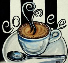 Paintings of Cafe Coffee | Coffee At The Cafe by Elizabeth Robinette Tyndall: