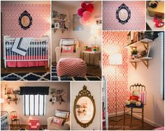 A DIY stenciled accent wall in acoral and navy nursery using the Trellis Allover pattern.http://www.cuttingedgestencils.com/allover-stencil.html