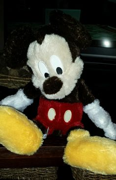 New- Disney Parks - 15 Inch Long Pile Vintage Retro Mickey Mouse Plush Doll
