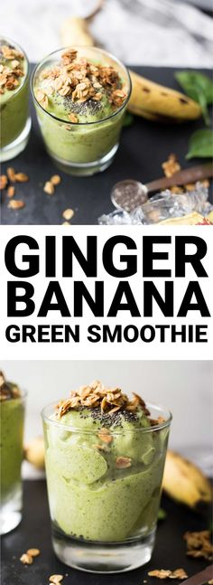 Ginger Banana Green Smoothie: This isn't your average smoothie! Packed with spicy ginger flavor, this vegan and gluten free smoothie is the perfect healthy way to start your day. Smoothie Bowl Vegan, Smoothies Vegan, Smoothie Vert, Ginger Smoothie, Smoothie Detox, Green Smoothie Recipes, Smoothie Drinks, Fruit Smoothies, Fruit Juice