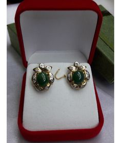 This authentic Myanmar Jade Earrings is professionally handmade. It is a unique piece of Myanmar imperial Jade; the first grade material (A type Jadeite).
