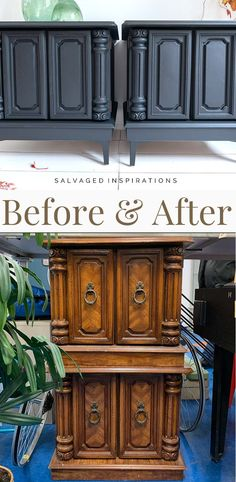 Before and After| Update Furniture with Metal Feet | Salvaged Inspirations #siblog #salvagedinspirations #paintedfurniture #furniturepainting #DIYfurniture #furniturepaintingtutorials #howto #furnitureartist #furnitureflip #salvagedfurniture #furnituremakeover #beforeandafterfurnuture #paintedvintagefurniture #roadsiderescues