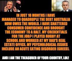 Joe Hockey's credentials as Federal Treasurer. (If only this was a joke) #AusPol via @JulieWines