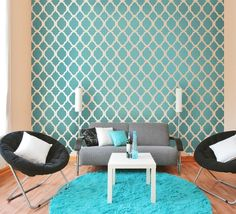 DIY Turquoise Stenciled Wall www.theblahblahblahger.com