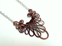 Made of solid anodized aluminum wire VCTORIAN FAN NECKLACE Choose your own Color by RefreshingDesigns,