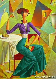 Georgy Kurasov ~ Cubist painter born in Leningrad in 1958, the USSR - The country is now Russia and the city is now called St Petersburg.