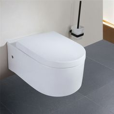 Design Toilette WC Sitz Wand-Hänge Keramik Abnehmbar Tiefspüler Spülrand Close