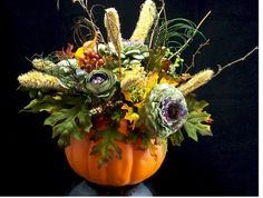 Fall Pumpkin centerpiece by justweddingbouquets on Etsy, $45.00