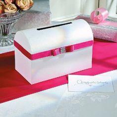 Briefbox in Weiß & Pink für die Glückwunschkarten bei der Hochzeit