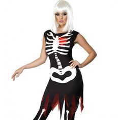 Bright Bones Glow in the Dark Costume, Dress with LED Lights