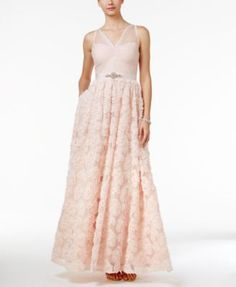 Adrianna Papell Floral Embroidered Illusion Gown   macys.com