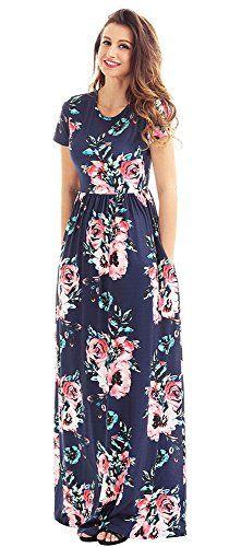 Cfanny Women s Pocket Design Floral Print Crew Neck Maxi Dress 98a9b0103411