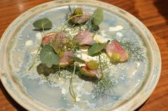 Serve topped with lardo (speck from Denmark) - it melts over the beets. Top with pine leaves. Drizzle with beet juice. h-tip refslund
