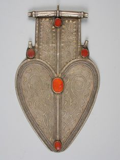 Turkoman silver and cornelian dorsal plate, 30 cm by 18 cm.