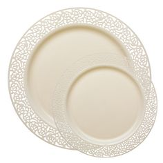 Save on fancy lace ivory plastic plates dinnerware value set that look pretty real for holiday catering and discount weddings on a budget.  sc 1 st  Pinterest & Baron Plastic Dinnerware Elegant Baron plastic tableware and ...