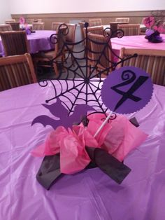 Vamerina for Mia's Birthday Birthday Party Centerpieces, Birthday Party Tables, Diy Birthday Decorations, 4th Birthday Parties, Halloween 1st Birthdays, Halloween Birthday, First Birthdays, 2 Birthday, Birthday Ideas
