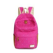 2016 Moda mochila de lona ocasional escolares moda feminina para sacos meninas dot impressão mochila sacos de ombro mochila(China (Mainland))