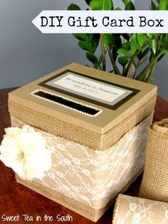 Wedding Gifts Easy DIY Gift Card Box - Tutorial to make an inexpensive, easy DIY gift card box. Perfect for a wedding or shower! Diy Card Box, Wedding Gift Card Box, Rustic Card Box Wedding, Money Box Wedding, Diy Wedding Gifts, Gift Card Boxes, Wedding Boxes, Wedding Cards, Diy Cards