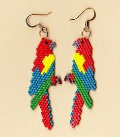beaded parrot earring patterns | Beaded Macaw Parrot Earrings