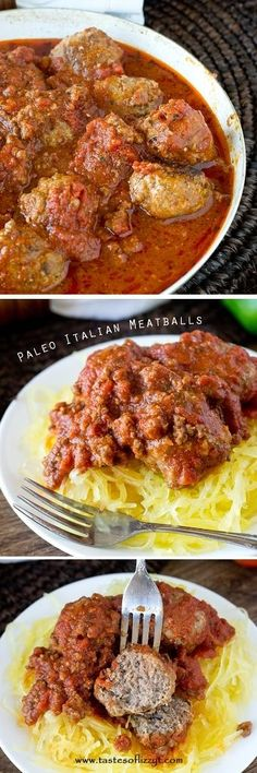 Paleo Italian Meatballs >> by Tastes of Lizzy T's. Paleo Italian Meatballs are a mixture of ground beef and ground turkey with Italian seasonings, all smothered in a homemade marinara sauce. Made grain free, gluten free, dairy free and sugar free.