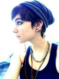 Punk pixie, with a loose beenie