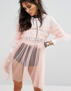 Buy it now. Glamorous Sheer Mesh Smock Dress With Ruffle Trims - Pink. Dress by Glamorous, Sheer mesh, Scoop neck, Tiered design, Ruffle trims, Regular fit - true to size, Hand wash, 100% Polyester, Our model wears a UK 8/EU 36/US 4 and is 173cm/5'8 tall, Undergarments not included. ABOUT GLAMOROUS An eclectic mix of vintage influences and contemporary partywear are at the heart of Manchester based label Glamorous, where individual style is the key. The carefully sourced fabrics and prints…