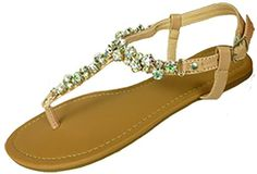 Womens T Strap Gladiator Sandals Flats shoes W/Iridescent Rhinestones (7/8, Nude 6347) Anig,http://www.amazon.com/dp/B00HFX1PJA/ref=cm_sw_r_pi_dp_vfIjtb0GRS8YDPV6
